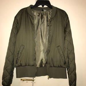 Olive Green Bomber Jacket - Size 12
